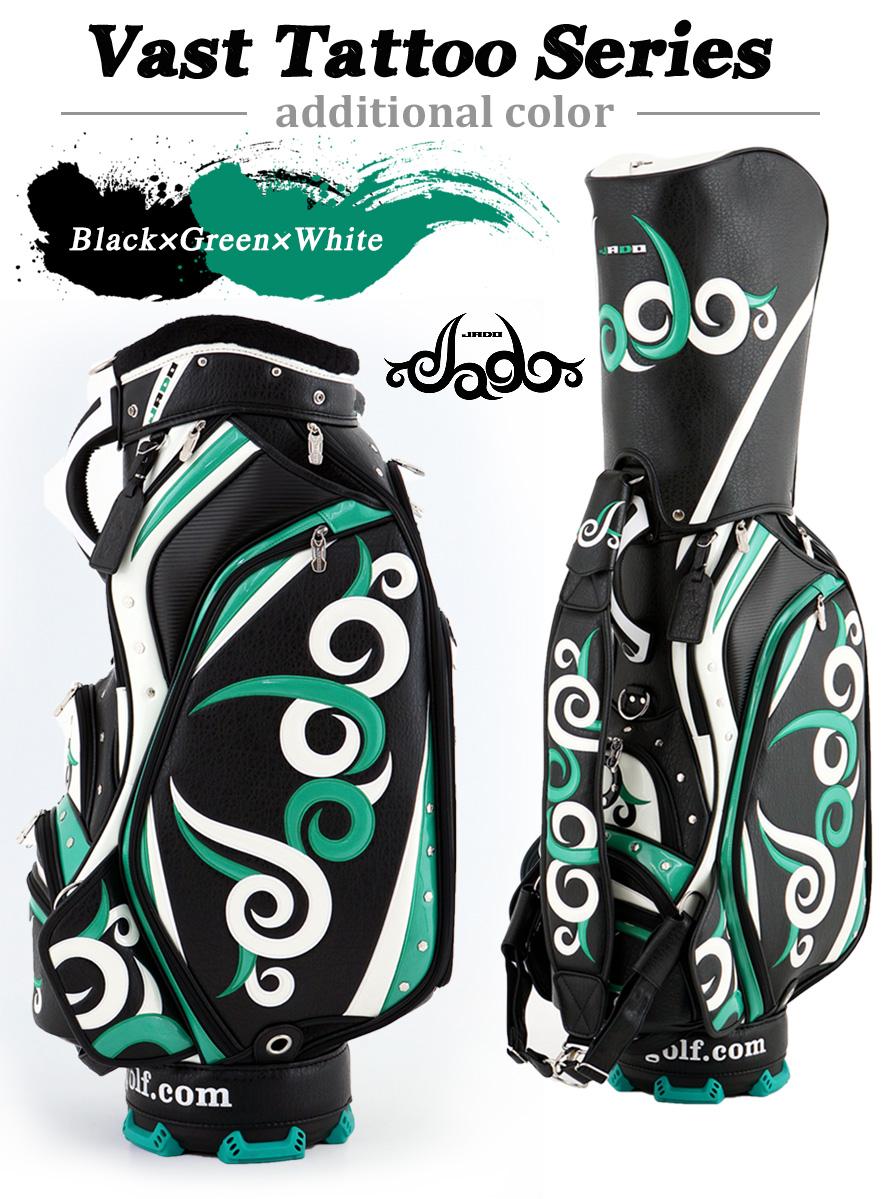 ゴルフキャディーバッグ JADO Vast Tattoo series Additional color ブラック×グリーン×ホワイト