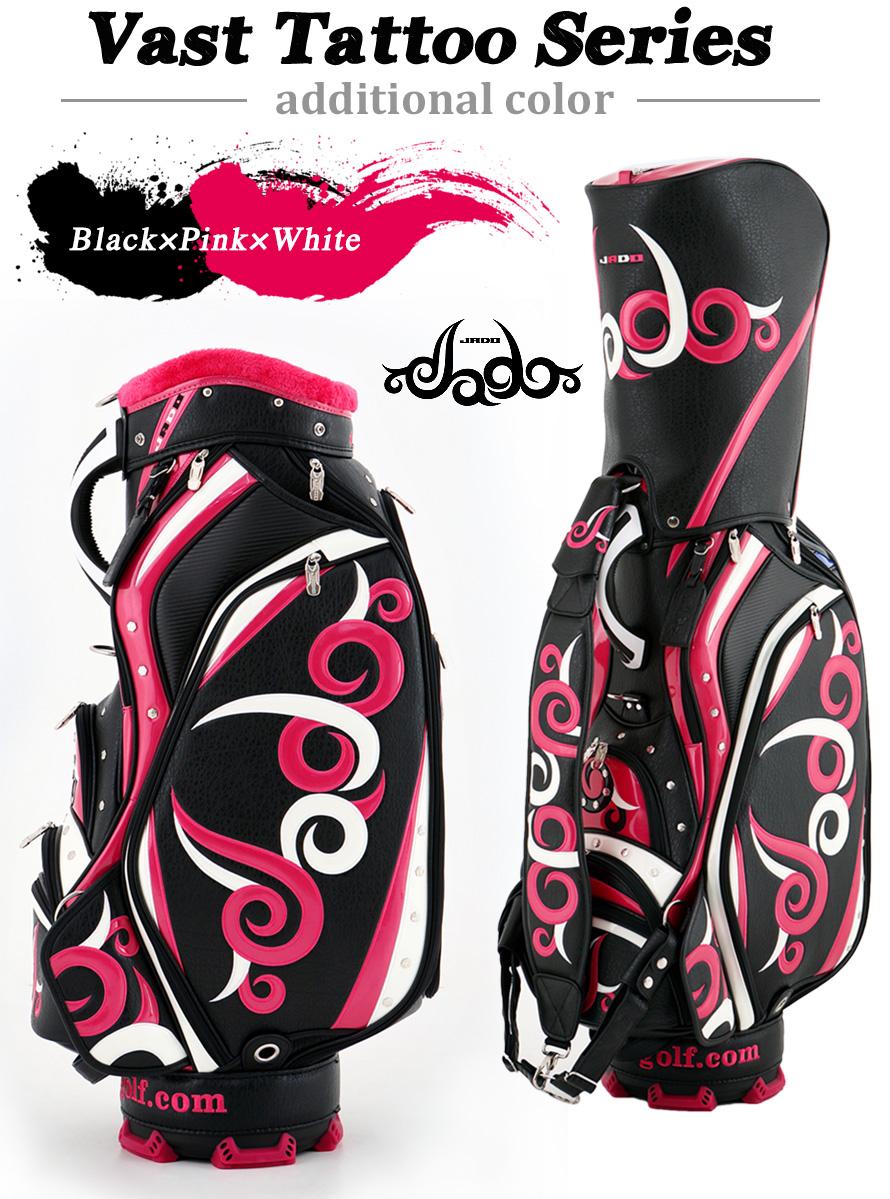 ゴルフキャディーバッグ JADO Vast Tattoo series Additional color ブラック×ピンク×ホワイト