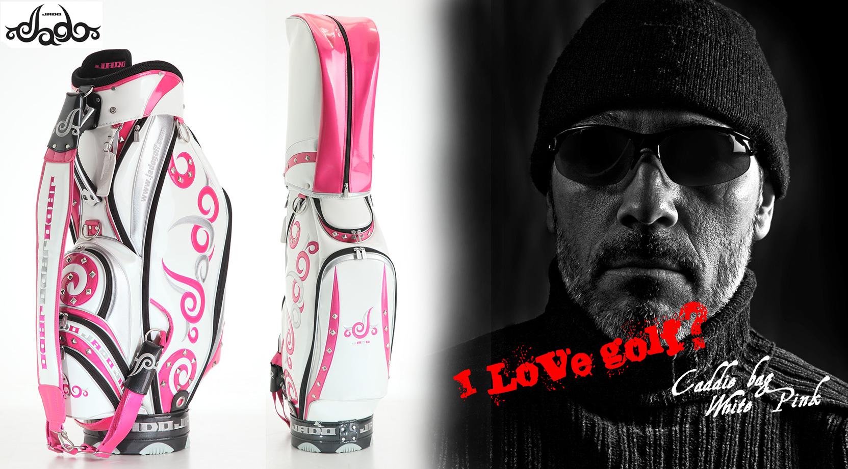 【Tatoo】ゴルフキャディバッグ ホワイト×ピンク