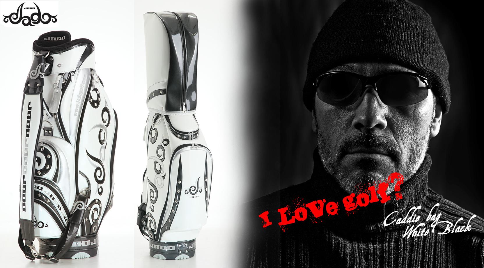 【Tatoo】ゴルフキャディバッグ ホワイト×ブラック